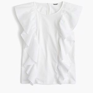 J. Crew white Flutter Sleeve Ruffle Shirt